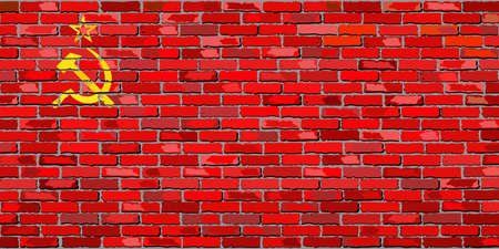 Flag of Soviet Union on a brick wall - Illustration,  USSR Flag painted on brick wall, Soviet Union flag in brick style