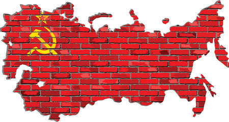 soviet flag: Soviet Union map on a brick wall - Illustration,   USSR map with flag inside,  Grunge map and Soviet Union flag on a brick wall
