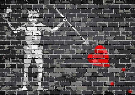 Pirate flag on a brick wall - Illustration,  Blackbeard pirate flag on brick textured background,  Pirate flag in brick style Иллюстрация