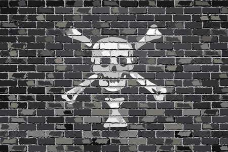 privateer: Pirate flag on a brick wall - Illustration,  Emanuel Wynn pirate flag on brick textured background,  Pirate flag in brick style Illustration