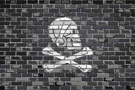 henry: Pirate flag on a brick wall - Illustration,  Henry Every pirate flag on brick textured background,  Pirate flag in brick style