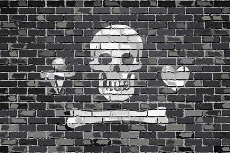 privateer: Pirate flag on a brick wall - Illustration,  Stede Bonnet pirate flag on brick textured background,  Pirate flag in brick style