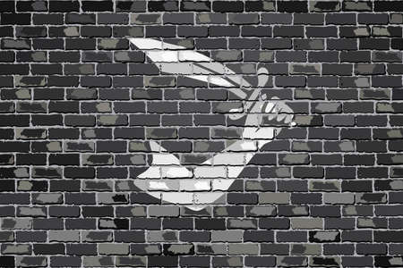 privateer: Pirate flag on a brick wall - Illustration,  Thomas Tew pirate flag on brick textured background,  Pirate flag in brick style Illustration