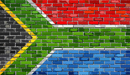 south african: Flag of South Africa on a brick wall - Illustration,  South African flag on brick textured background,  Abstract grunge mosaic