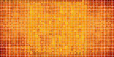 Orange abstract mosaic background - Illustration,  Mosaic grunge background,  Squares Of Light And Dark orange