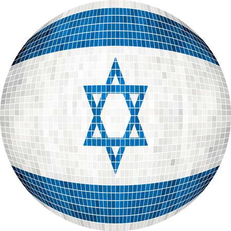 Ball with Israel flag - Illustration,  Sphere Israel Flag,   Abstract Grunge Mosaic flag of Israel Illustration