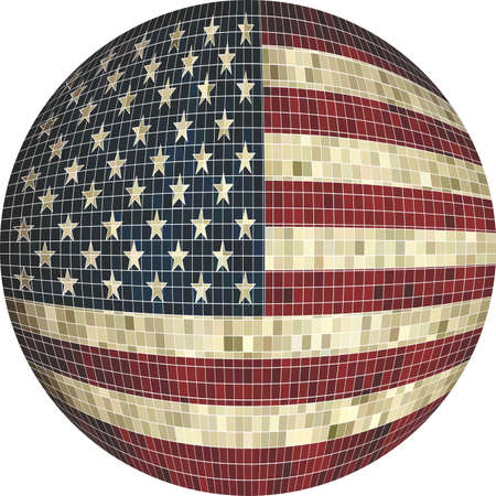 Ball with USA flag - Illustration,  Sphere usa flag,   Abstract Grunge Mosaic flag of USA in circle Illustration