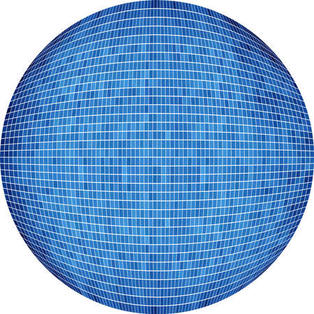 azure: Blue Ball in mosaic - Illustration,  Azure Sphere ,   Abstract Grunge blue Mosaic in circle