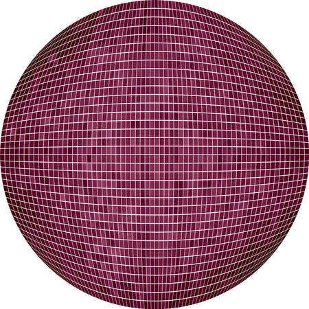 Burgundy Ball in mosaic - Illustration,  Lilac Sphere,   Abstract Grunge Mosaic in circle