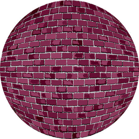 cyclamen: Burgundy brick ball - Illustration,  Lilac Sphere in brick style,   Abstract grunge purple brick in circle