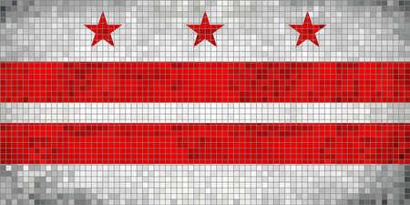 dc: Abstract Mosaic flag of Washington, D.C. - illustration,  The flag of the state of Washington District of Columbia,  Washington D.C. grunge mosaic flag