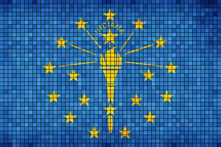 indiana: Abstract Mosaic flag of Indiana - illustration,  The flag of the state of Indiana,  Indiana grunge mosaic flag Illustration