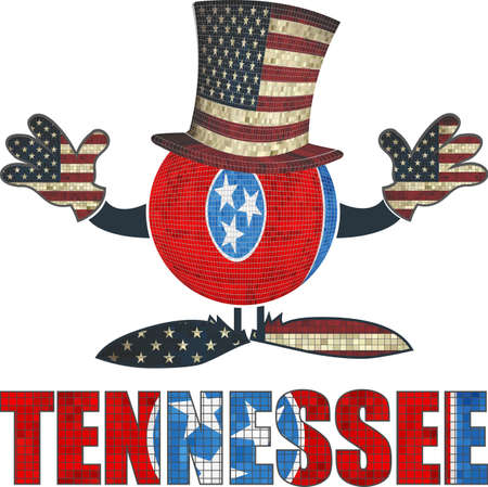 tennessee: Tennessee ball with American hat and hands - Illustration,  Brick ball with Tennessee flag,  Font with the Tennessee flag,  Brick Tennessee ball with USA flag