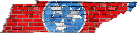 Tennessee kaart op een bakstenen muur - illustratie, de staat Tennessee kaart met vlag binnen, kaart Grunge en de vlag staat Tennessee op bakstenen geweven achtergrond, de vlag van Tennessee in baksteen stijl Stock Illustratie