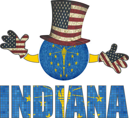 Indiana ball with American hat and hands - Illustration,  Mosaic ball with Indiana flag,  Font with the Indiana flag,  Indiana ball with USA flag