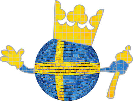 Ball with Sweden crown - Illustration,  Brick ball with Swedish flag,  Crown with flag of Kingdom of Sweden