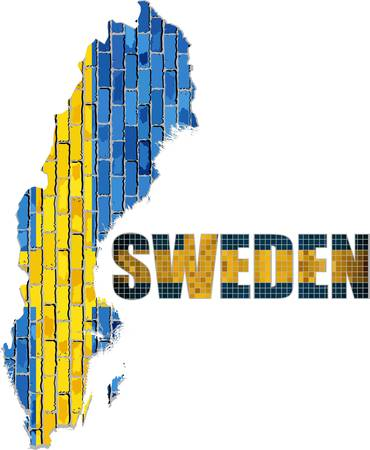 Sweden map on a brick wall - Illustration,  Font with the Sweden flag,  Map of the Swedish with flag inside,  Abstract grunge Swedish flag in brick style Illustration