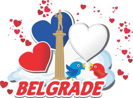Monument of Belgrade with sparrows,  Belgrade with hearts, Winner silhouette vector Stock Illustratie