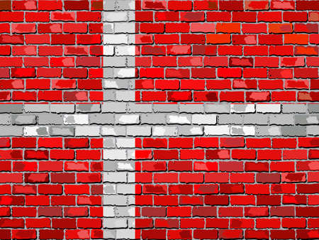 danish flag: Flag of Denmark on a brick wall - Illustration,  Danish flag on brick textured background,  Abstract grunge mosaic vector