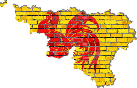 Walloon map on a brick wall - Illustration,  Map of the Wallonia with flag inside,  Abstract grunge Walloon flag in brick style Illustration