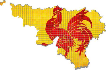 walloon: Wallonia map with flag inside - Illustration, Wallonia map grunge mosaic, Walloon flag in mosaic,  Abstract grunge mosaic vector