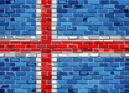 Flag of Iceland on a brick wall - Illustration,  Icelandic flag painted on brick wall, Icelander flag in brick style,  Abstract grunge mosaic vector Illustration