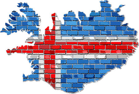 Iceland map on a brick wall - Illustration,  Map of the Iceland with flag inside,  Abstract grunge Icelander flag in brick style