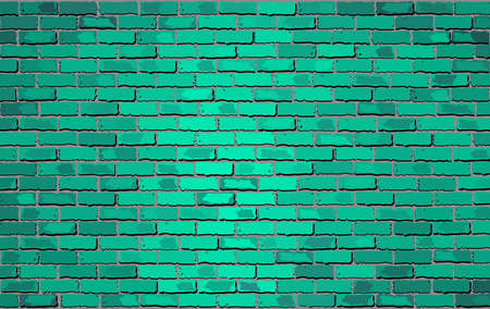Turquoise brick wall - Illustration,  Shades of turquoise brick wall vector,  Realistic light and dark turquoise color brick wall,  Abstract grunge vector Ilustração