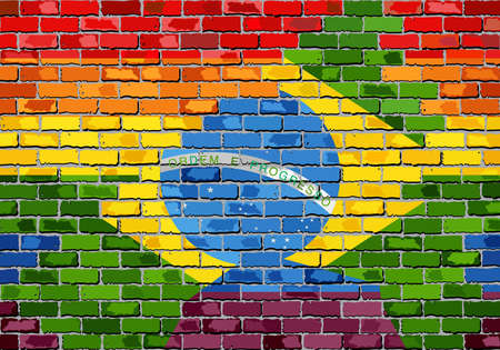 la union hace la fuerza: Brick Wall Brazil and Gay flags - Illustration, Rainbow flag on brick textured background,  Abstract grunge Brazilian Flag and LGBT flag