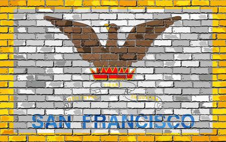 レンガ スタイルのレンガの壁 - 図では、サンフランシスコのサンフランシスコの旗します。