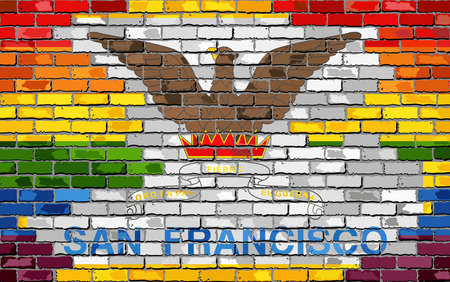 Brick Wall San Francisco and Gay flags - Illustration, Rainbow flag on brick textured background,  Abstract grunge San Francisco Flag and LGBT flag Illustration