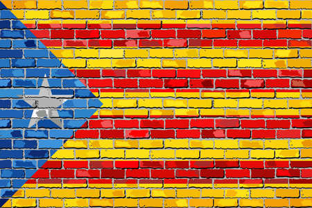 Catalan flag with a white star in brick style - Illustration,  Catalan national flags on brick textured background,  Catalonia flag painted on brick wall
