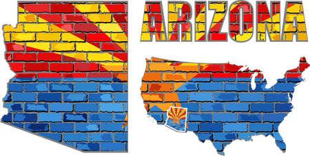 Arizona on a brick wall - Illustration, Arizona Flag painted on brick wall, Font with the Arizona flag,  Arizona map on a brick wall