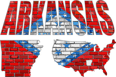 Arkansas on a brick wall - Illustration, Font with the Arkansas flag,  Arkansas map on a brick wall