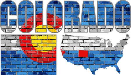 colorado: Colorado on a brick wall - Illustration, Font with the Colorado flag,  Colorado map on a brick wall