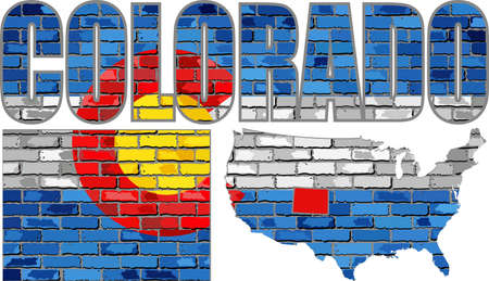 Colorado on a brick wall - Illustration, Font with the Colorado flag,  Colorado map on a brick wall
