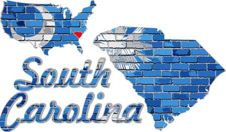 South Carolina on a brick wall - Illustration, Font with the South Carolina flag,  South Carolina map on a brick wall