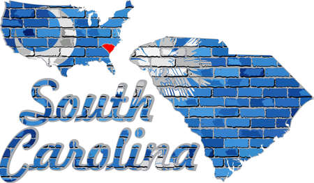 South Carolina on a brick wall - Illustration, Font with the South Carolina flag,  South Carolina map on a brick wall