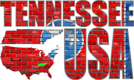 Tennessee on a brick wall - Illustration, Font with the Tennessee flag,  Tennessee map on a brick wall