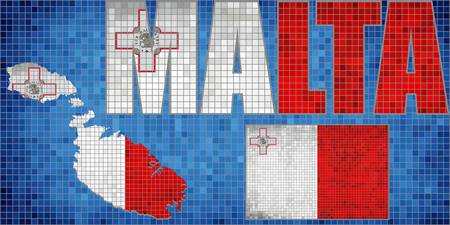 Mosaic map and flag of Malta - Illustration,   Grunge mosaic Maltese flag,  Font with the Malta flag, Malta map in blue background