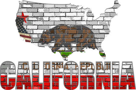 California on a brick wall - Illustration, California Flag painted on brick wall, Font with the California flag,  California map on a brick wall Stock Illustratie