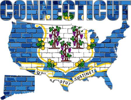 Connecticut on a brick wall - Illustration, Font with the Connecticut flag,  Connecticut map on a brick wall Иллюстрация
