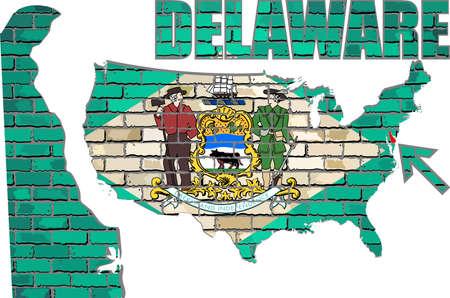 Delaware on a brick wall - Illustration, Font with the Delaware flag,  Delaware map on a brick wall