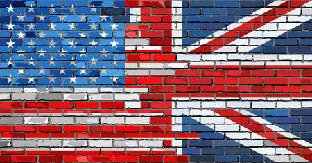 Brick Wall USA and UK flags - Illustration,  Mixed Flags of the USA and the UK,  English and American flag