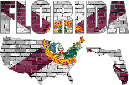 Florida on a brick wall - Illustration, Font with the Florida flag,  Florida map on a brick wall