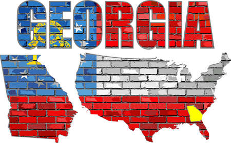 Georgia on a brick wall - Illustration, Font with the Georgia flag,  Georgia map on a brick wall