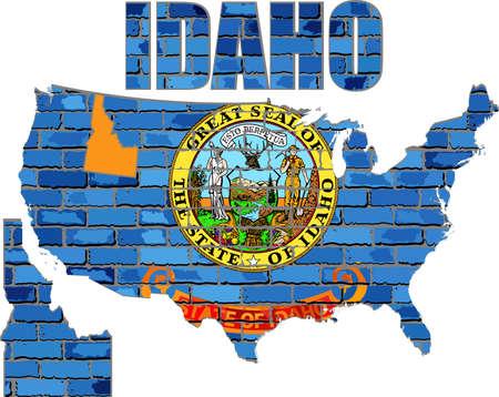 Idaho on a brick wall - Illustration, Font with the Idaho flag,  Idaho map on a brick wall