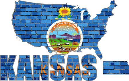 Kansas on a brick wall - Illustration, Font with the Kansas flag,  Kansas map on a brick wall Иллюстрация