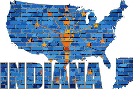 Indiana on a brick wall - Illustration, Font with the Indiana flag,  Indiana map on a brick wall Иллюстрация