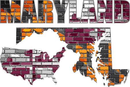 Maryland on a brick wall - Illustration, Font with the Maryland flag,  Maryland map on a brick wall